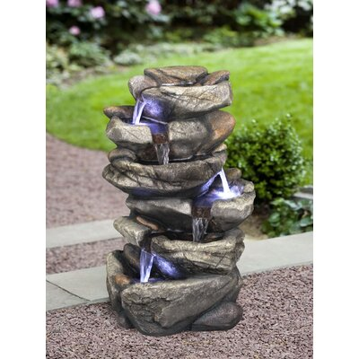 Resin Rock Waterfall Fountain with LED Light