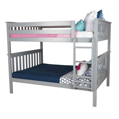 Solid Wood Bunk Bed Size: Full over Full, Bed Frame Color: Gray