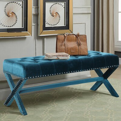 Marston Moretaine Upholstered Bench Upholstery: Green