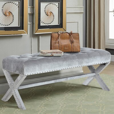 Marston Moretaine Upholstered Bench Upholstery: Gray
