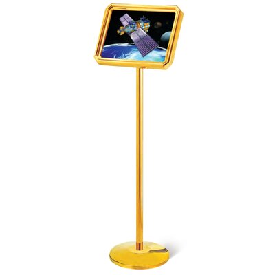Poster Stand with Round Base Finish: Golden Brass