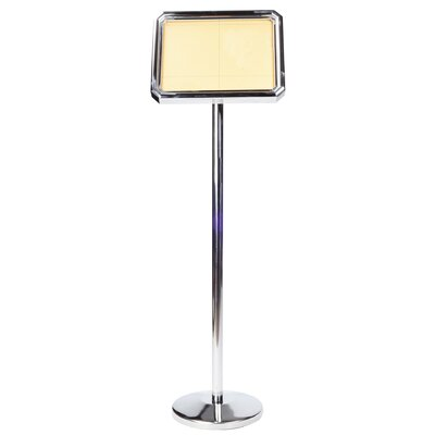 Poster Stand with Round Base Finish: Silver Stainless Steel