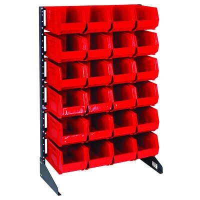 """Single Sided Steel Rail Rack with Bins (Complete Package) Bin Color: Red, Bin Dimensions & Number of Rails: 3"""" H x 4 1/8"""" W x 7 3/8"""" D (qty. 96) & 12 Rails"""