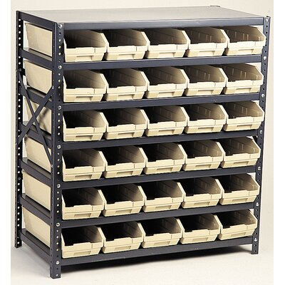 "Economy Shelf Storage Units with Bins Bin Color: Green, Bin Dimensions: 4"" H x 4 1/8"" W x 11 5/8"" D (qty. 48)"