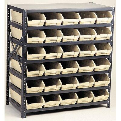 "Economy Shelf Storage Units with Bins Bin Color: Red, Bin Dimensions: 4"" H x 8 3/8"" W x 17 7/8"" D (qty. 24)"