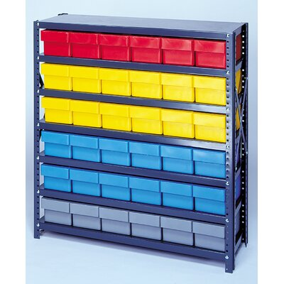 """Open Shelving Storage System with Euro Drawers Bin Color: Gray, Bin Dimensions: 4 5/8"""" H x 3 3/4"""" W x 11 5/8"""" D (qty. 108)"""