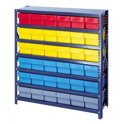 """Open Shelving Storage System with Euro Drawers Bin Color: Red, Bin Dimensions: 4 5/8"""" H x 5 9/16"""" W x 11 5/8"""" D (qty. 36)"""