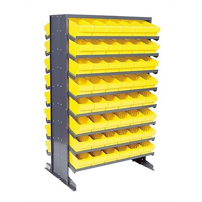 """Double Sided Pick Rack Storage Systems with Euro Bins Bin Color: Red, Bin Dimensions: 4 5/8"""" H x 3 3/4"""" W x 11 5/8"""" D (qty. 144)"""