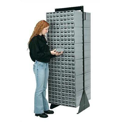 """70"""" H x 23.5"""" W x 11"""" D Double Sided Interlocking Storage Rack Number of Drawers: 128 Drawers, Finish: Red"""