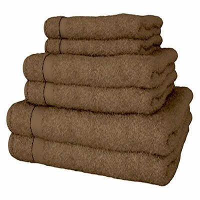6 Piece Turkish Cotton Towel Set Color: Brown