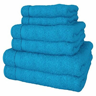 6 Piece Turkish Cotton Towel Set Color: Turquoise
