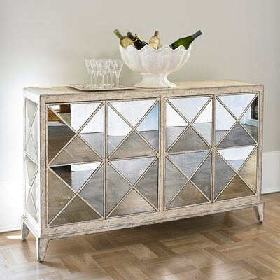 Antique Mirrored 4 Door Accent Chest