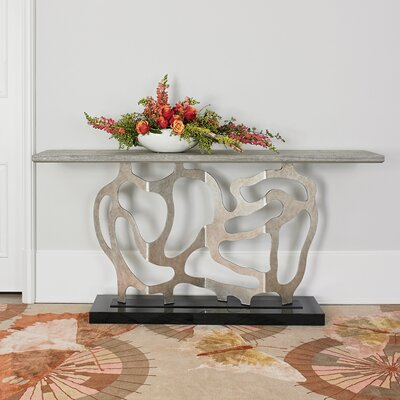 Sculpted Console Table Table Top Color: Gray, Table Base Color: Silver Metal Leaf/Black