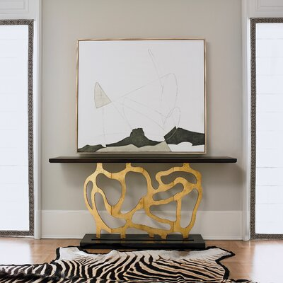 Sculpted Console Table Table Base Color: Antique Gold/Black, Table Top Color: Dark Walnut