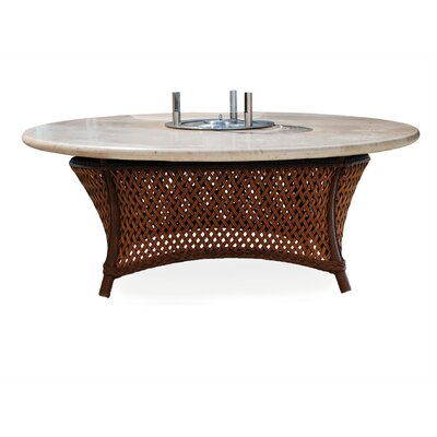 Grand Traverse Vinyl Fire Pit Table Top Finish: Travertine, Base Finish: Bisque