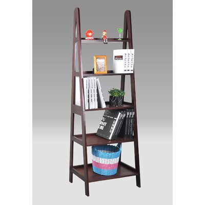 "Ladder Bookcase Size: 71"" H x 48"" W x 15"" D, Finish: Walnut"