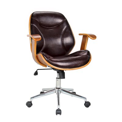 Rigdom Mid-Back Desk Chair Upholstery: Brown