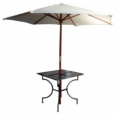 """Pangaea Home and Garden Iron Square Dining Table with 2.75"""" Umbrella Holder"""