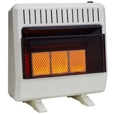 Dual Fuel Ventless Infrared 30,000 BTU Natural Gas / Propane Wall Mounted Heater with Automatic Thermostat