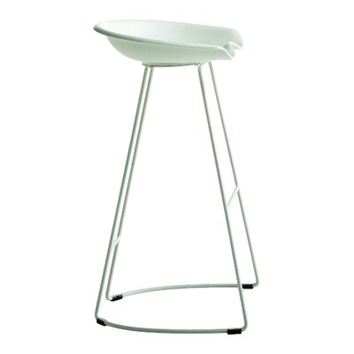 "Landi 29.5"" Bar Stool Leg Color: White Steel, Seat Color: Dark Gray Baydur"