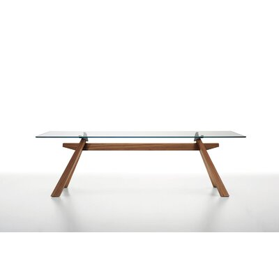 "Zeus LG Dining Table with Glass Top Size: 29.9"" H X 78.7"" W X 41.7"" D"