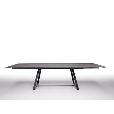 "AlfredExtendable Dining Table Size: 28.5"" H x 118.1"" W x 39.4"" D, Top Color: Oxide Sand Crystal ceramic, Base Color: Graphite Steel"