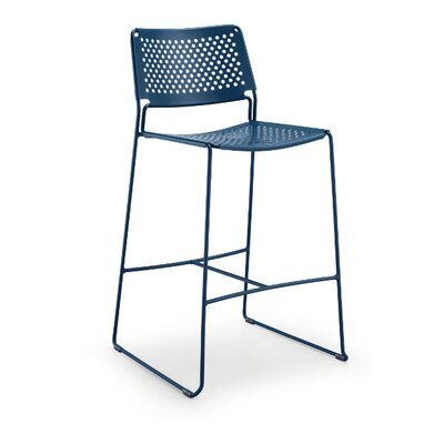 "Slim 30"" Bar Stool Color: Brown/Light Blue"