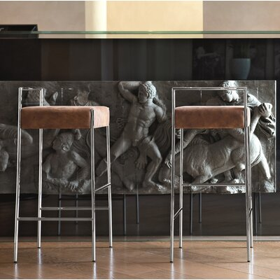 """Mark Bar Stool Size: 30.7"""" H x 16.5"""" W x 17.7"""" D, Seat Color: Brown"""