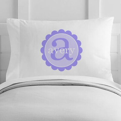 Personalized Scalloped Circle Toddler Pillow Case Color: Purple