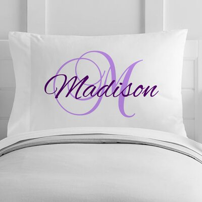Personalized Script Name and Initial Toddler Pillow Case Color: Purple / Lilac