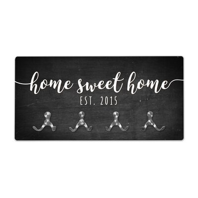 Personalized Chalkboard Look Home Sweet Home Wall Mounted Coat Rack