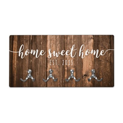 Personalized Rustic Wood Look Home Sweet Home Wall Mounted Coat Rack