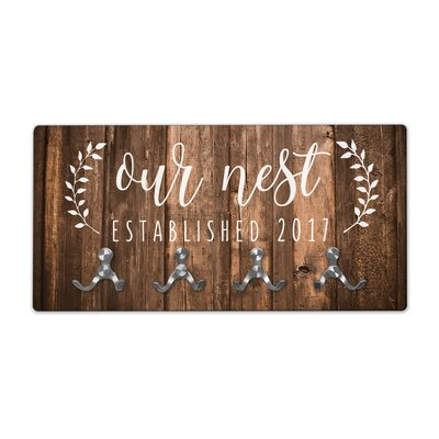 Personalized Rustic Wood Look Our Nest Wall Mounted Coat Rack