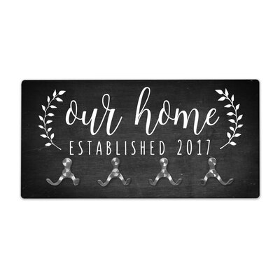 Personalized Chalkboard Look Our Home Wall Mounted Coat Rack