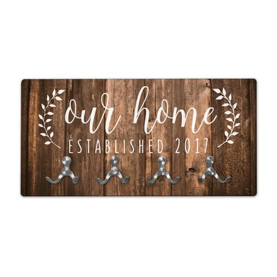 Personalized Rustic Wood Look Our Home Wall Mounted Coat Rack