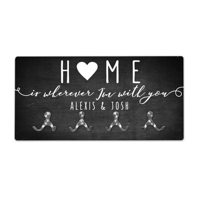 Personalized Chalkboard Look Home Wall Mounted Coat Rack
