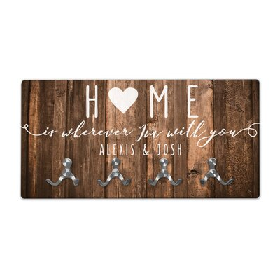 Personalized Rustic Wood Look Home Wall Mounted Coat Rack