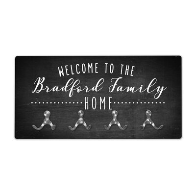 Personalized Chalkboard Look Welcome to Family Home Wall Mounted Coat Rack