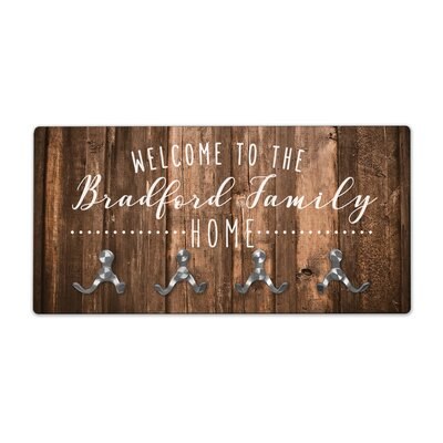 Personalized Rustic Wood Look Welcome to Family Home Wall Mounted Coat Rack