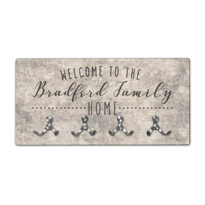 Personalized Sandstone Look Welcome to Family Home Wall Mounted Coat Rack