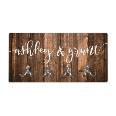 Personalized Rustic Wood Look Couples Names Wall Mounted Coat Rack