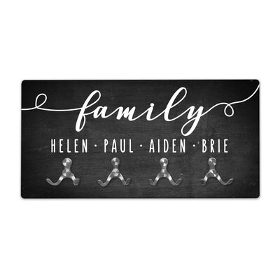 Personalized Chalkboard Look Family Wall Mounted Coat Rack