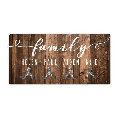 Personalized Rustic Wood Look Family Wall Mounted Coat Rack