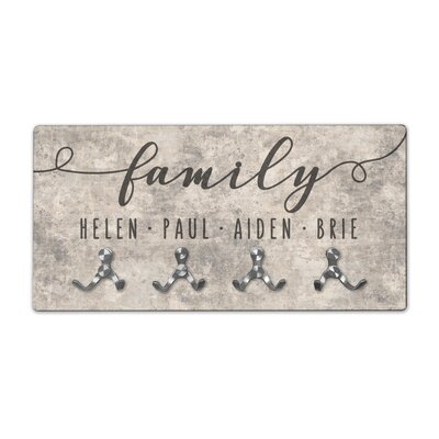 Personalized Sandstone Look Family Wall Mounted Coat Rack