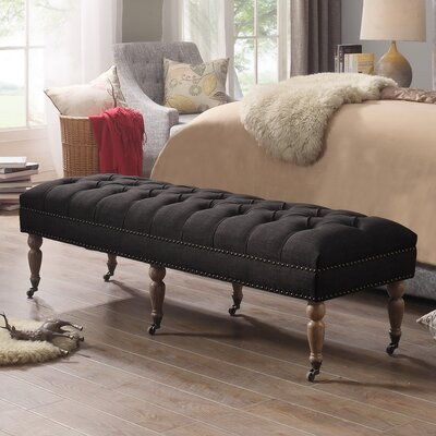 Walkerton Upholstered Bench Upholstery: Charcoal