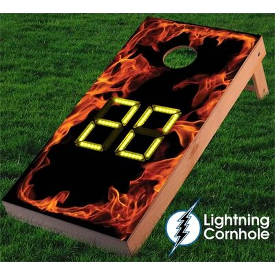 Electronic Scoring Flaming Cornhole Board Color: Yellow
