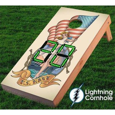 Electronic Scoring Navy Girl Cornhole Board Color: Green