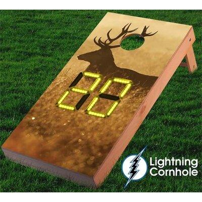 Electronic Scoring Elk in the Wild Cornhole Board Color: Yellow