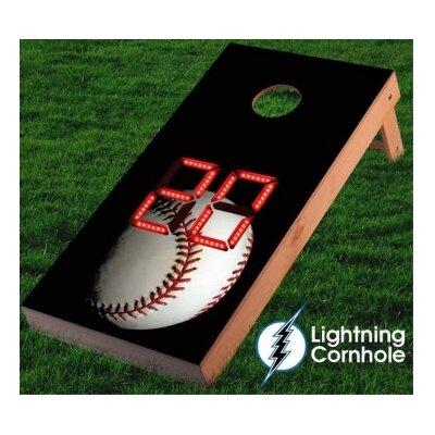 Electronic Scoring Baseball Cornhole Board Color: Red
