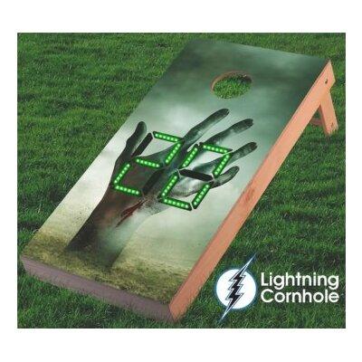 Electronic Scoring Zombie Hand Cornhole Board Color: Green